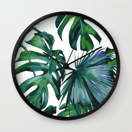 Tropical Palm Leaves Classic II Wall Clock