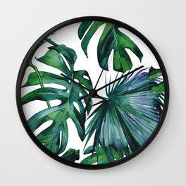 Tropical Palm Leaves Classic II Wall Clock