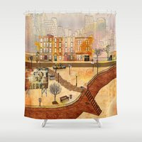 brooklyn Shower Curtains featuring Brooklyn by Katy Davis