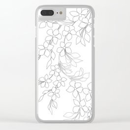 Minimal Wild Roses Line Art Clear iPhone Case