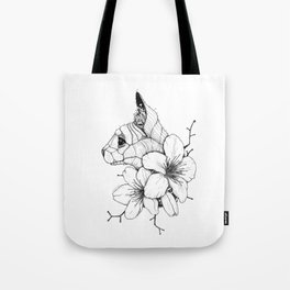 Sphynx cat & Sakura Blossoms Tote Bag