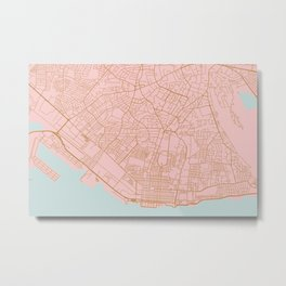 Pink Kingstone map, Jamaica Metal Print