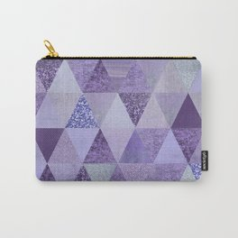 Glamorous Purple Faux Glitter And Foil Triangles Carry-All Pouch