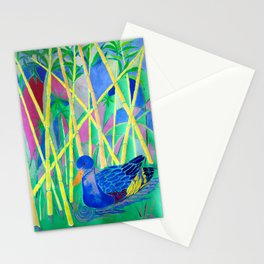 La Papera nello Stagno al Tramonto (Duck in a Pond at Sunset) Stationery Cards