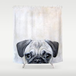 Pug with star, original hand painting design Shower Curtain