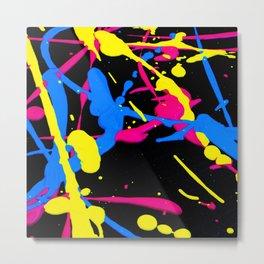 Vibrant Neon Pink, Black Purple and White Paint on Black Canvas Metal Print
