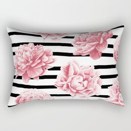 Simply Drawn Stripes and Roses Rectangular Pillow