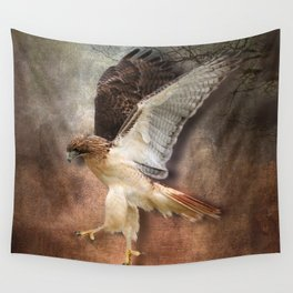 Red Tail Hawk in Vintage Light Wall Tapestry