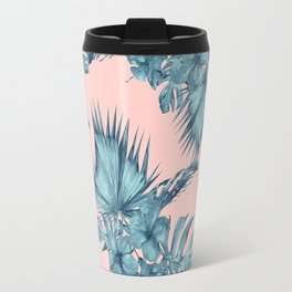Dreaming of Hawaii Teal Blue on Millennial Pink Travel Mug