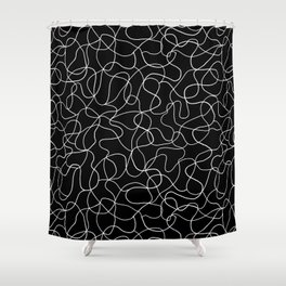 Tangled - White hand-drawn lines on a black background Shower Curtain