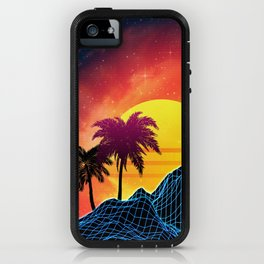 Sunset Vaporwave landscape with rocks and palms iPhone Case