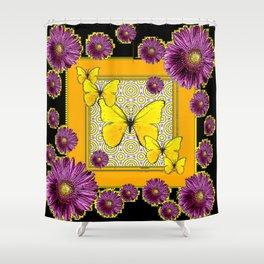 Black Purple Yellow Butterflies Flowers Patterns Art Shower Curtain