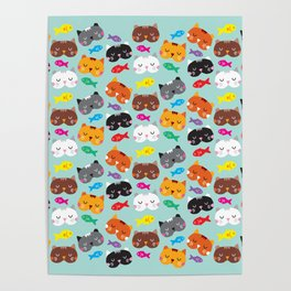 Cats Love Fish I Poster