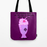 asexual Tote Bags featuring Asexual Milkshake by Satyrbug