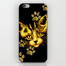 Cute Cat Portrait with Paws Prints iPhone Skin