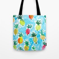 pineapples Tote Bags featuring Pineapples by Barbarian // Barbra Ignatiev