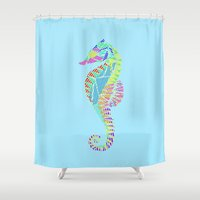 seahorse Shower Curtains featuring Seahorse by nessieness