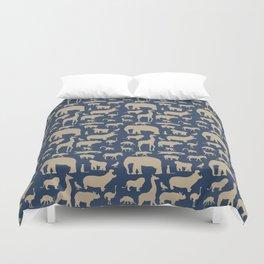 African Fauna // Khaki & Navy Duvet Cover