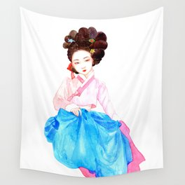 Watercolor Korean beauty - Pink&Blue Wall Tapestry