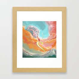 Fantasy Dragon and Clouds Framed Art Print