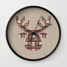 Plaid Reindeer Wall Clock