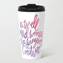 Well Read Woman - Girl Nerd Quote - Gradient Travel Mug