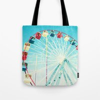 ferris wheel Tote Bags featuring Ferris Wheel by Mina Teslaru