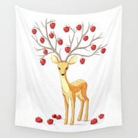 fawn Wall Tapestries featuring Autumn Fawn by Freeminds