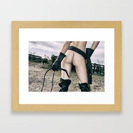 3043 Cowgirl Mistress Cate Six Shooter - Bullwhipped Boudoir Erotic Framed Art Print