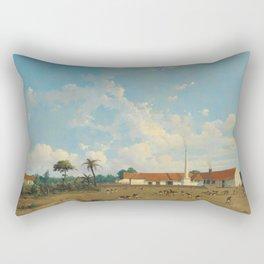 The Kemanglen Sugar Factory near Tegal (or Tagal), Java, Abraham Salm, 1870 - 1875 Rectangular Pillow