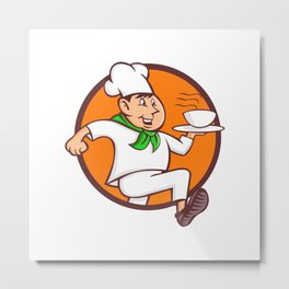 Running Chef Serving Fast Food Mascot Metal Print