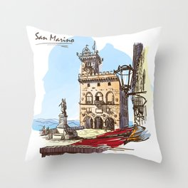 Sketches from Italy - San Marino Throw Pillow
