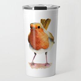 Robin Bird Watercolor Painting Travel Mug