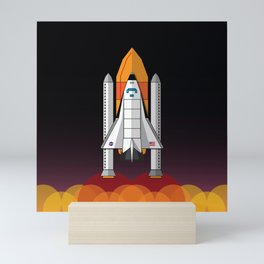 Space Shuttle night launch Mini Art Print