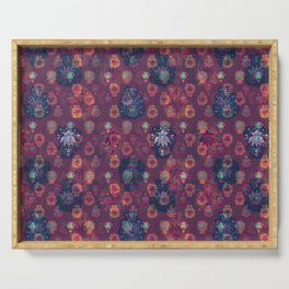 Lotus flower - orange and blue on mulberry woodblock print style pattern Serving Tray