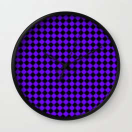 Black and Indigo Violet Diamonds Wall Clock