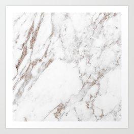 Rose gold shimmer vein marble Art Print