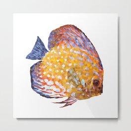 Fishie Geometric Illustration Metal Print