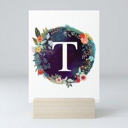 Personalized Monogram Initial Letter T Floral Wreath Artwork Mini Art Print