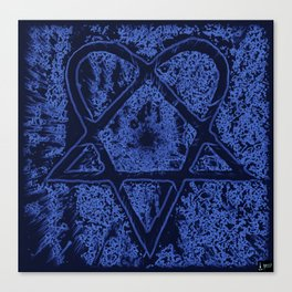 Nightfall Blue Heartagram Canvas Print