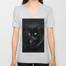 When A Black Cat Hearts Your Path Unisex V-Neck