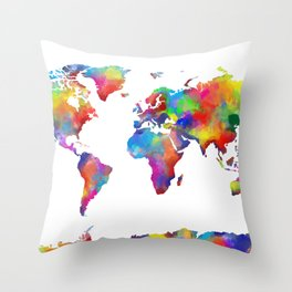 world map colorful 2 Throw Pillow