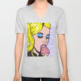 Blonde Ice Cream Comic Girl Unisex V-Neck