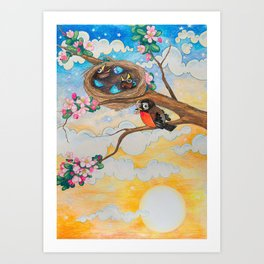 Spring: Mother Robin Art Print