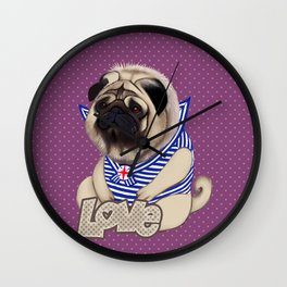 Sailor pug dog with purple dot pattern Wall Clock