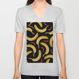 Bananas Chillies pattern illustration - black Unisex V-Neck