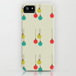 Christmas globes pattern retro colors iPhone Case