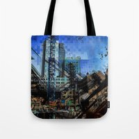 montreal Tote Bags featuring Montreal urbania by Jean-François Dupuis