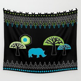 African Rhino (Cool colors) Wall Tapestry