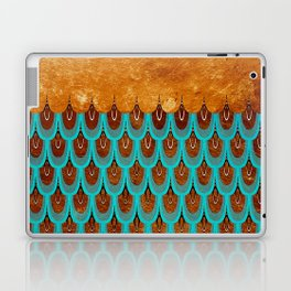 Copper Metal Foil and Aqua Mermaid Scales- Abstract glitter pattern Laptop & iPad Skin